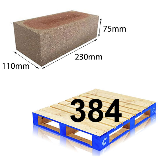 Brick Dry Press Mixed Face 230x110x75mm per pallet of 384