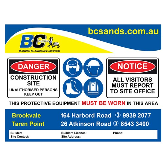 Free Site Safety Sign! 1200x900mm (RRP $75.00)