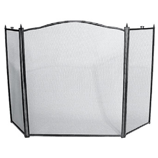 Fire Screen 3 Fold Black Frame