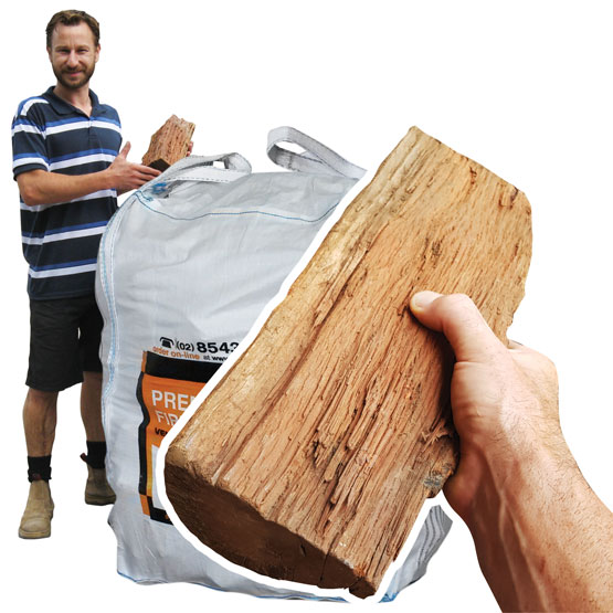 Firewood Pilliga -Stove Size- 500Kg Bulk Bag (FAA Approved)