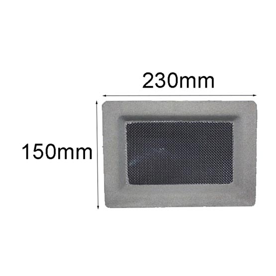 Vent Spark Arrest 455x160mm Stainless Steel Mesh Plain Grey Surround Acme