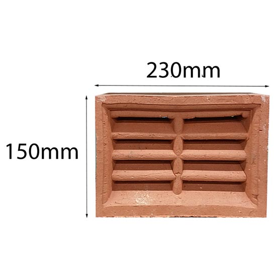 Vent Traditional Double Louvre 230x150mm in Terracotta