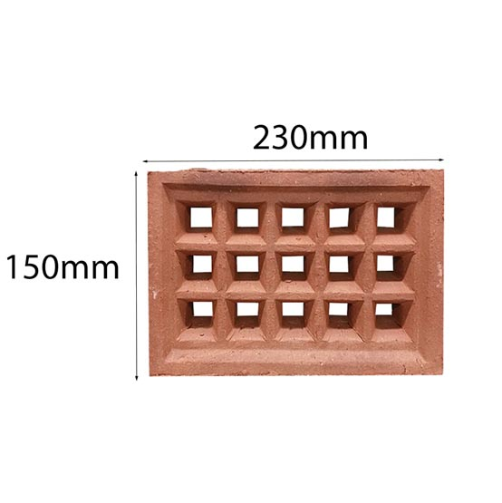Vent Traditional Square Double 230x150mm in Terracotta