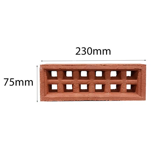Vent Traditional Square Single 230x75mm in Terracotta