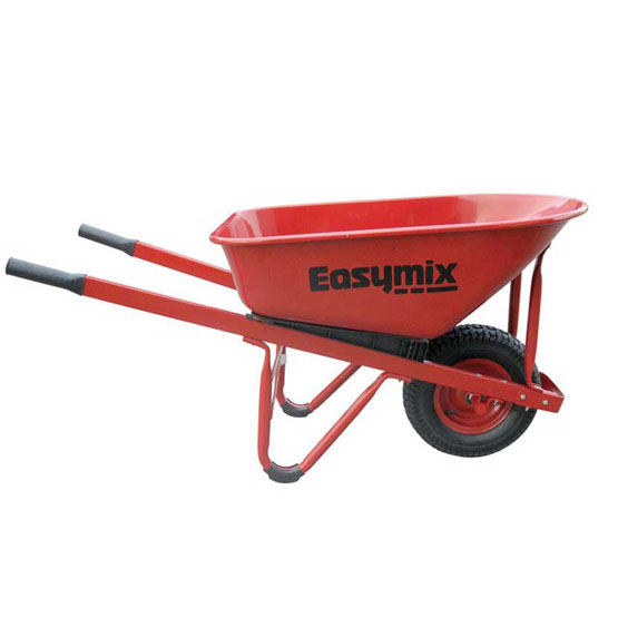 Wheelbarrow Heavy Duty Steel Tray Wide Wheel Red EasyMix