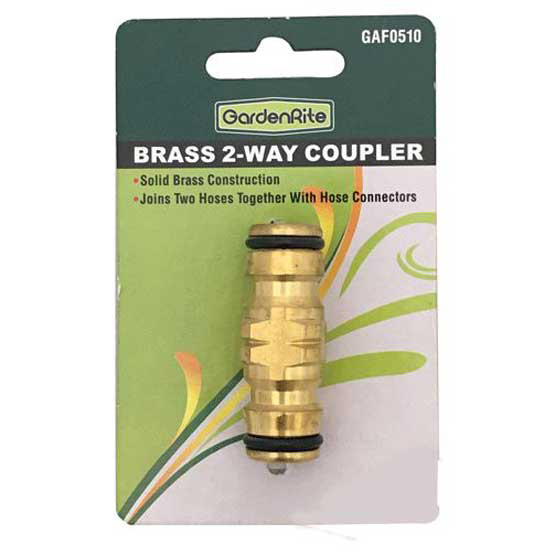 Hose Coupler Two Way Brass 12mm GardenRite