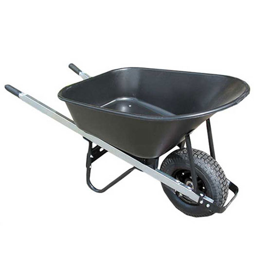 Wheelbarrow Poly Black Tray Wide Wheel