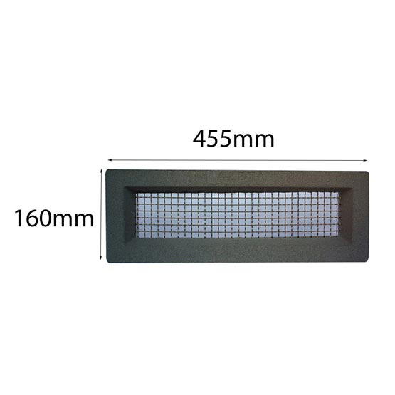 Vent 460x160mm Stainless Steel Mesh Plain Grey Surround Acme