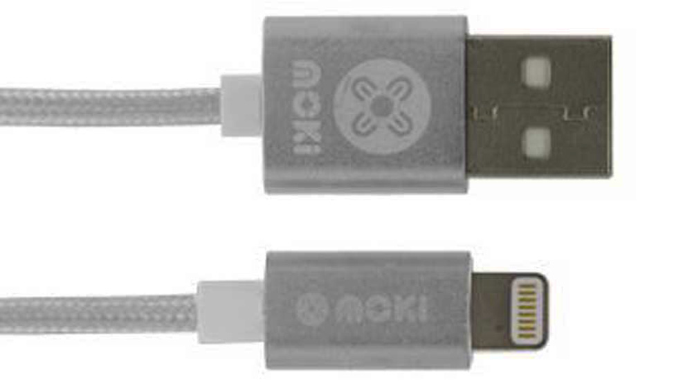 Moki Braided Lightning SynCharge Cable - Silver