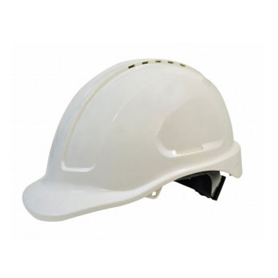 Hard Hat Safety White Vented Ratchet Harness