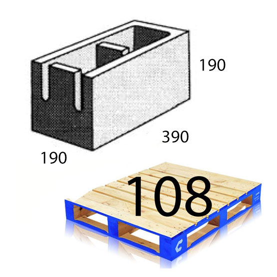 Block 20.41 Closed End 190x390x190mm Baines Betta Each (108 per pallet)