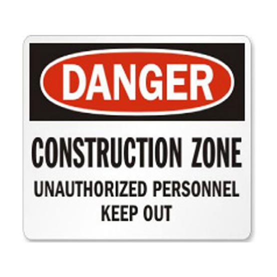 Site Sign Unauthorized Personnel Keep Out Danger Construction 600x450mm