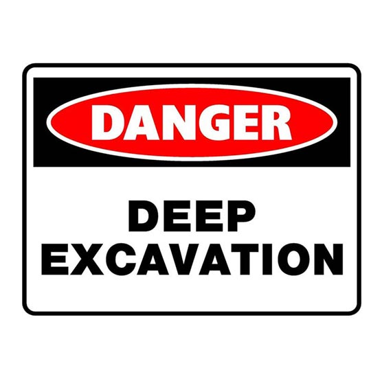 Site Sign Danger Deep Excavation 600x450mm